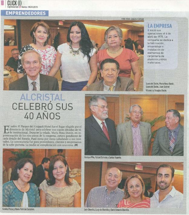40 años de ALCRISTAL C.A. en Diario Expreso